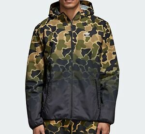 Details zu adidas Originals camo Camouflage Windbreaker mens Jacket coat green brown L NEW