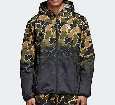Adidas Originals Camo Camouflage Windbreaker Veste Homme Manteau Vert Marron XL Neuf