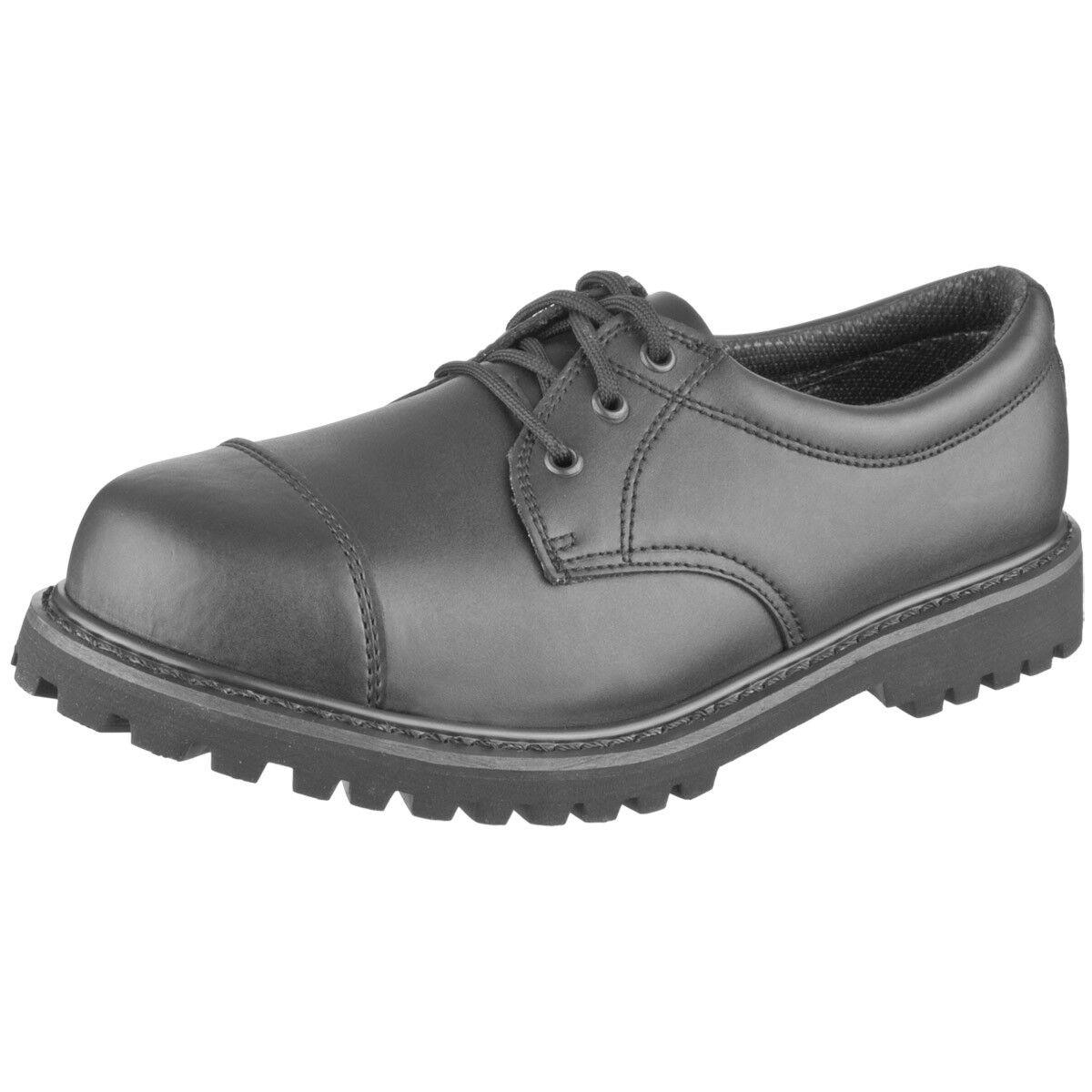 Brandit Militär Phantom Stiefel Armee Polizei Cadet Leder Schuhe 3 Öse schwarz