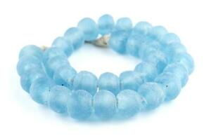 Baby Blue Recycled Glass Beads 11mm Ghana African Sea Glass Round Large Hole