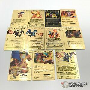 Carte-Pokemon-Gold-Dracaufeu-Charizard-Metal-Card-Fan-Made-EX-GX-Custom-Shiny