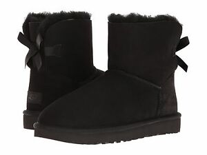 fb056313e58 Details about Women's Shoes UGG MINI BAILEY BOW II Boots 1016501 BLACK *New*