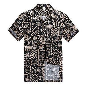 Men-Aloha-Shirt-Cruise-Tropical-Luau-Beach-Hawaiian-Party-Black-Hang-Loose-Shaka