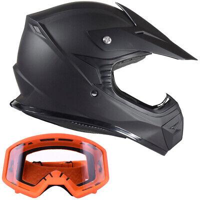 Adult Orange Motocross Helmet Combo Black or Orange Goggles