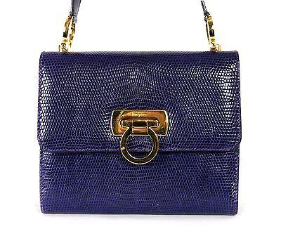 1c437494a3a5 SALVATORE FERRAGAMO Royal Purple Lizard Skin GANCINI Crossbody Bag