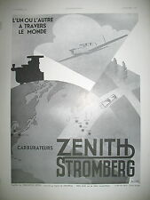 PUBLICITE DE PRESSE ZENITH STROMBERG CARBURATEUR AVIATION ILLUSTRATIONMEDVé 1935
