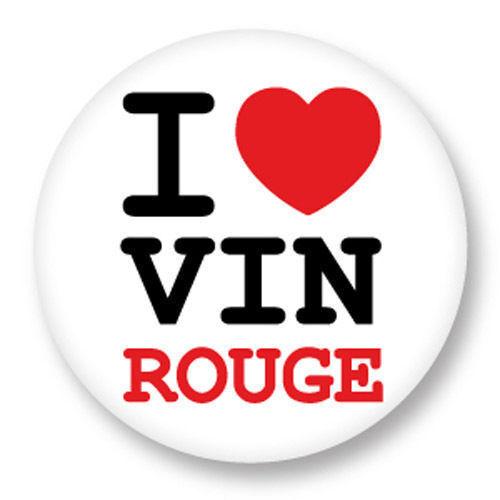 Magnet Aimant Frigo Ø38mm ♥ I Love You j'aime Vin Rouge Red Wine Alcool Alcohol