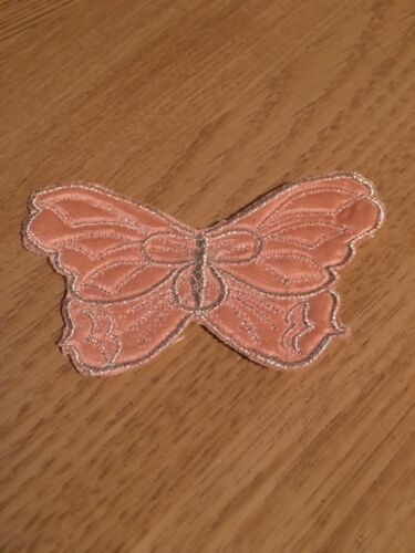 Silver on Pink Satin Butterfly Motif Patches 10cm x 6.8cm