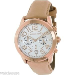Details about Michael Kors Mercer Chronograph White Dial Rose Gold Tone Steel Ladies MK2283