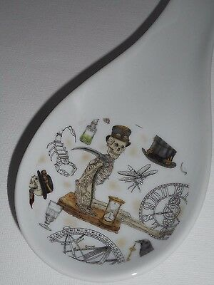 BN Steam Punk Skeleton spoon rest and holder porcelain ceramic steam punk gift