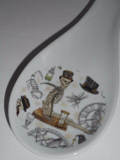 BN Steam Punk Skeleton spoon rest and holder porcelain ceramic steam punk gift