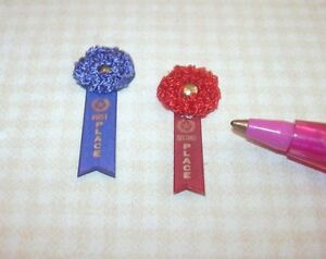 Miniature-Fancy-Winning-Ribbons-1st-2nd-for-DOLLHOUSE-1-12-Scale-Miniatures