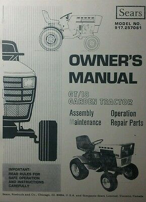 Sears Suburban GT-18 Lawn Garden Tractor Owner, Parts & Onan Service (2  Manuals | eBayeBay