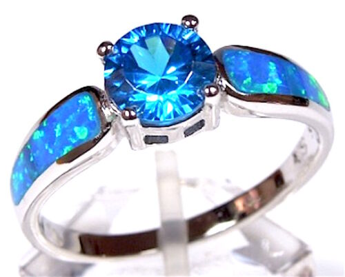 Topaze Bleue /& Blue Fire Opal Inlay Véritable 925 Sterling Silver Ring Taille 6,7,8,9