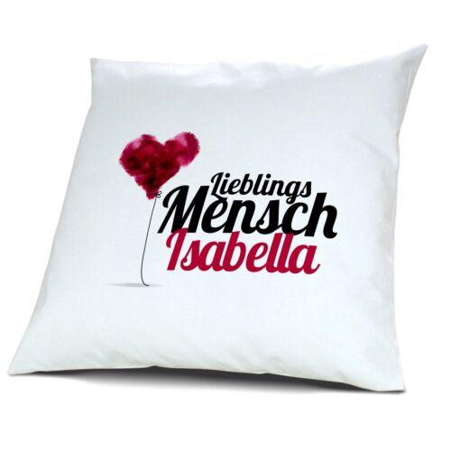 Motiv Lieblingsmensch Kopfkissen mit Namen Isabella