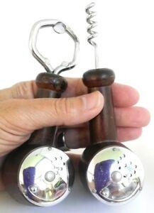 Vintage-Wood-Pipe-Salt-amp-Pepper-Shaker-Set-Corkscrew-Bottle-Opener