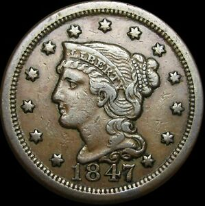 1847-Braided-Hair-Large-Cent-Type-Penny-NICE-Q859