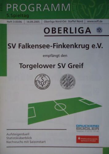 Programm 2005/06 SV Falkensee Torgelower SV Greif Finkenkrug