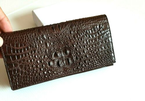 Details about  /Women Brown Crocodile Baby Skin Leather Clutch Women Exotic Crocodile Leather