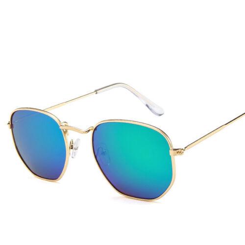 Hot Women Men Polygon Clear Lens Sunglasses Vintage Plain Glasses Metal Frame