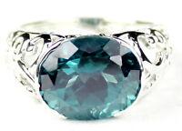 • Sr360, Paraiba Topaz, East-west 925 Sterling Silver Men's Ring -handmade