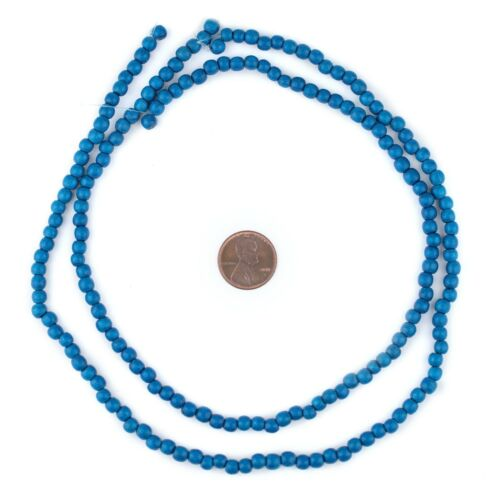 Azul Blue Round Natural Wood Beads 5mm 16 Inch Strand