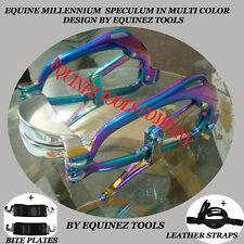 Equine Dental Millenium Speculum Multi Color Horse Mouth Gag Leather straps,