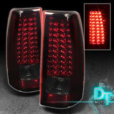 99-02 Gmc Sierra Chevy Silverado Led Tail Brake Lights Left+Right Red Smoked