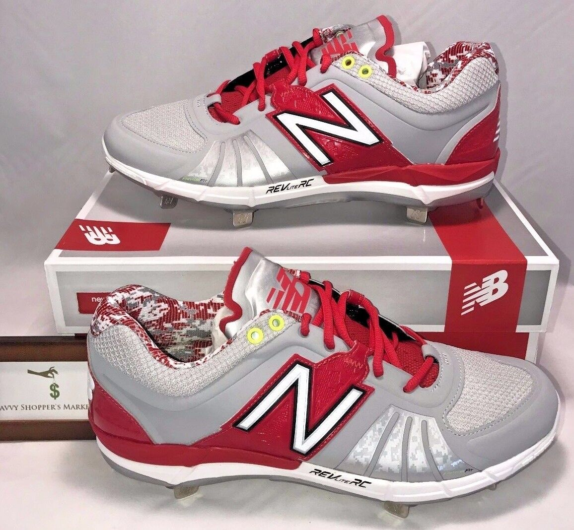 New Balance Mens Size 13 Low Metal Baseball Cleats Red Silver Digital