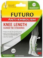 FUTURO Anti-Embolism Knee Length Closed Toe 18mm/Hg X-Large Regular White 1 Pair