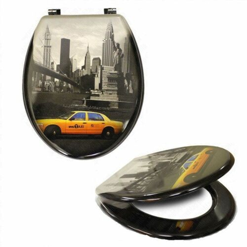 NEW YORK CITY TAXI NOVELTY MDF TOILET BATHROOM SEAT LID WITH CHROME HINGES
