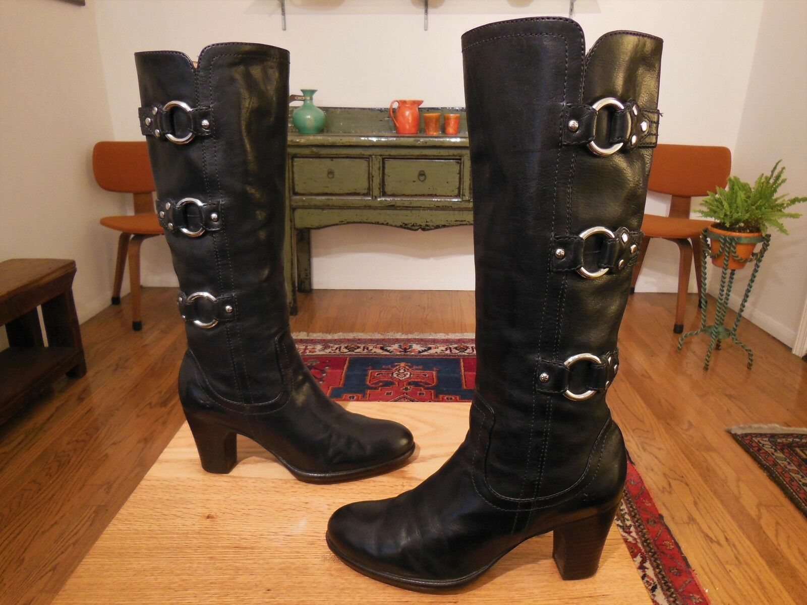 Vtg FRYE Women's Tall Black Leather FIONA 3 Strap Studded Fashion Boots 8M