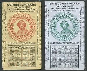 SNOW-NABSTEDT-FAMOUS-JOE-039-S-GEAR-CORP-Celluloid-Course-Protractor-Calendar-Cards