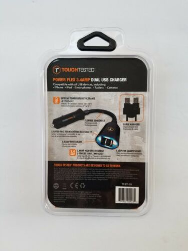 Tough Tested Power Flex 3.4 Amp 2 USB Car Charger Adapter in Retail Box