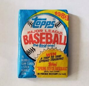 Details About Baseball Cards 1989 Topps Wax Pack Of 15 Cards And Bubble Gum Stick Baseball