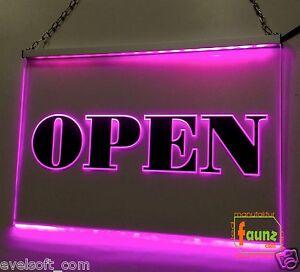 led enseigne lumineuse signe panneau publicitaire open rose faunz com ebay. Black Bedroom Furniture Sets. Home Design Ideas
