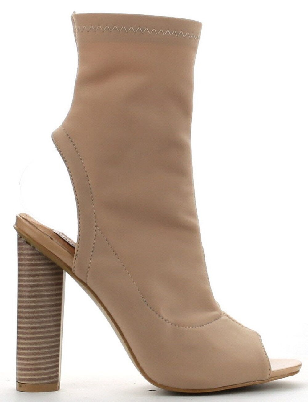 Connie-3 Open Peep Toe Lycra Elastic Pull On Ankle Bootie Block Heel Boot Nude
