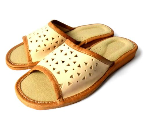 Women/'s Shoes Slippers REAL LEATHER Mules Open Toe SPECIAL OFFER