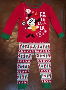 8914691e7bec3 Details about Disney Store Girl s Cotton Holiday Christmas Pajama Set Size 3  Minnie Mouse