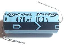 6pcs Rubycon 470uF 100V Axial Electrolytic Aluminum Capacitor 100VDC Audio Japan