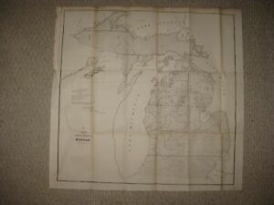Detailed Michigan Map.Rare Early Vintage Antique 1852 Michigan Dated Map Northern