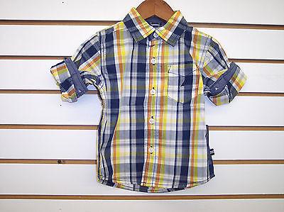 Infant Boys Nautica $34.50 Navy, Yellow & Orange Plaid Shirt Sizes 12 -24mo