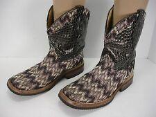 926c2703693 Womens 7 B Ferrini Black Silver Embossed Cross Leather Western S Toe ...