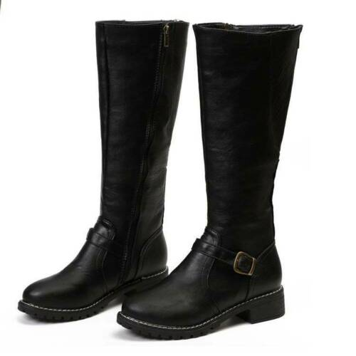 Details about  /NEW Womens Knee High Horse Riding Boots Winter Zip Up Low Heel Wide Calf Shoes