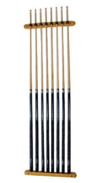 Cue Rack Only 8 Pool Billiard Stick Wall Holder Oak Finish