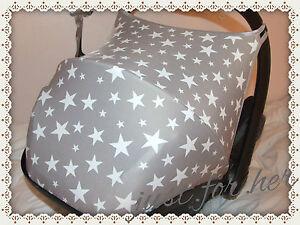 Image Is Loading Car Seat Hood Sun Canopy Stars Grey White
