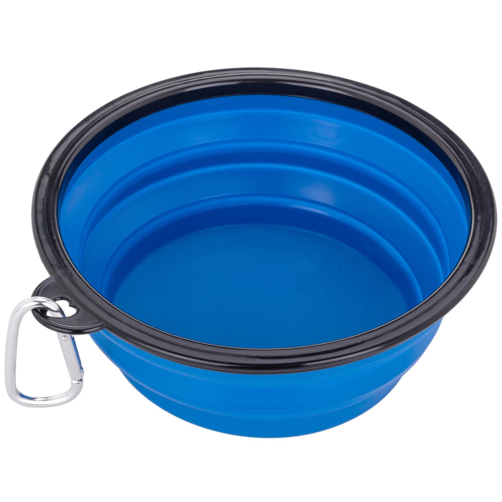 Comedero plegable de goma para mascotas 1000 ml azul