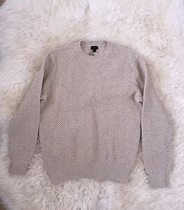 JCREW-Mens-Cotton-textured-stitch-crewneck-sweater-F4052-M-L-Tan-Beige-NEW
