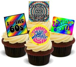 60S-PARTY-MIX-NEW-12-Edible-Stand-Up-Premium-Wafer-Cake-Toppers
