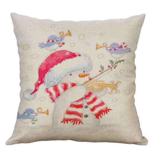 "18/"" cadeau de Noël Coton Lin Taie d/'oreiller Throw Cushion Cover Home Décor"